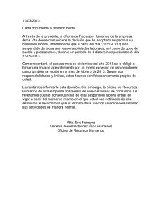 Carta documento a Romero Pedro