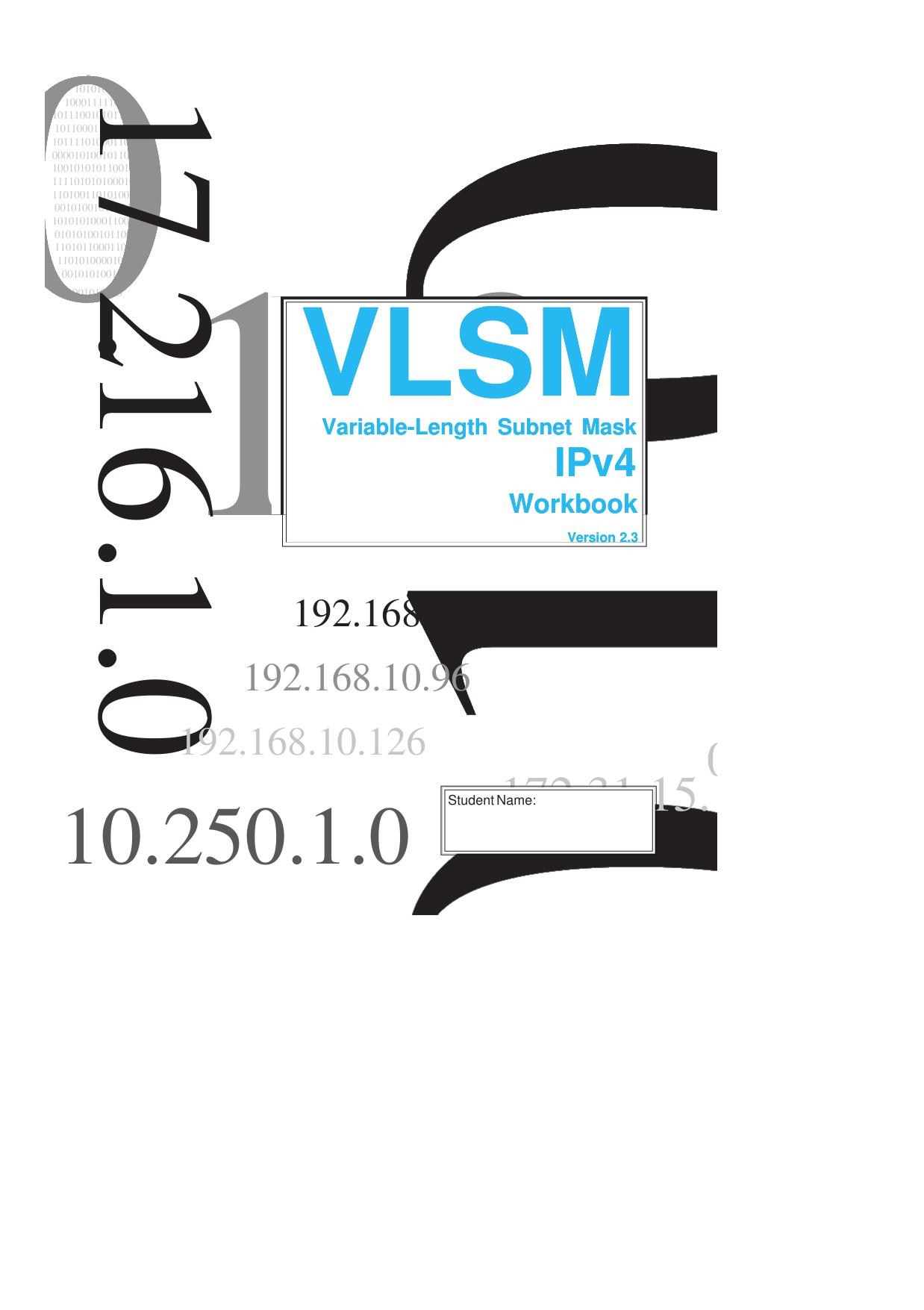 Vlsm Workbook Ipv4 Student Edition Ver 2 3