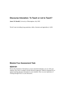 Crystal, Discourse intonation. To teach or not to teach