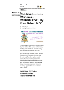 The Seven Wisdoms - WISDOM FIVE   By Fran Fisher, MCC   The Launchpad - The Coaching Tools Company Blog