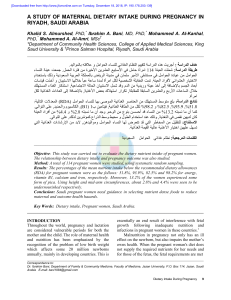A STUDY OF MATERNAL DIETARY INTAKE DURING PREGNANCY IN RIYADH SAUDI ARABIA