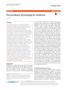 Personalized Physiological medicine