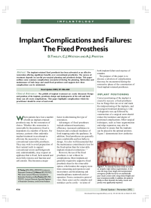 implant complications and failures the fixed prosthesis