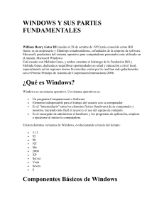 WINDOWS Y SUS PARTES FUNDAMENTALES