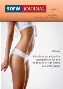MicrobiologicalQualityManagementfortheProductionofCosmeticsandDetergents-SFW-2012