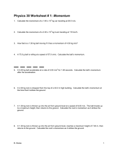 Momentum Worksheets