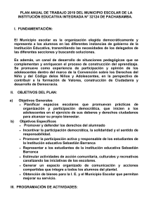 PLAN ANUAL DE TRABAJO 2019 DEL MUNICIPIO ESCOLAR DE LA INSTITUCIÓN EDUCATIVA INTEGRADA N