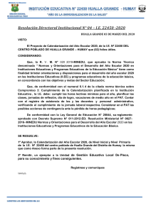 RESOLUCION DE CALENDARIZACION
