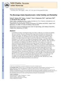 The Beverage Intake Questionnaire: Initial Validity and Reliability