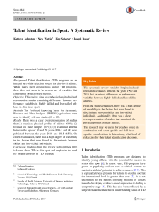 talent identification in sport