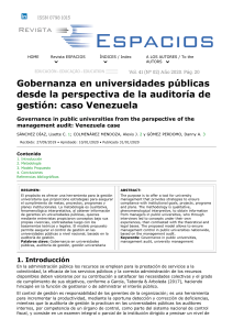 Governance in public universities from the perspective of the