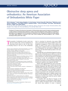 Obstructive sleep apnea and orthodontics: An American Association of Orthodontists White Paper