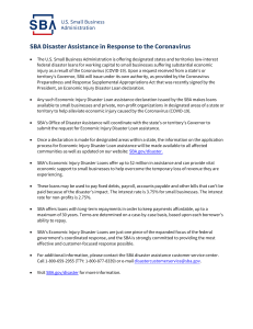 COVID-19 SBA Disaster Assistance Resources for Businesses-508
