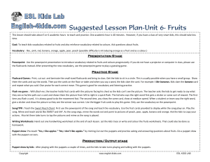 Lesson plan unit 6 fruits
