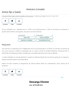 Activo fijo o Gasto - Noticiero Contable