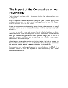 The Impact of the Coronavirus on our Psychology