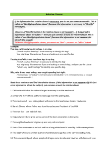 relative clauses identifying and and non identifying worksheet