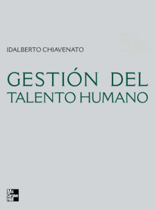 CHIAVENATO Idalberto. Gestion del talent