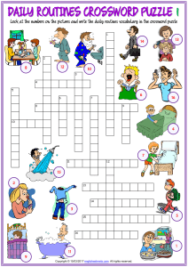 daily routines vocabulary esl crossword puzzle worksheets for kids
