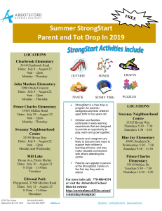 Summer StrongStart Parent and Tot 2019