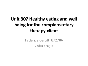 Unit 307 Healthy eating and well being for