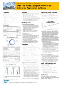 SAP Implementation - Corporate Fact Sheet
