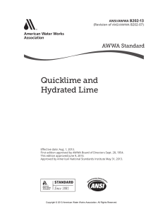 (ANSI AWWA B202-13) awwa-AWWA B202-13 Quicklime and Hydrated Lime-American Water Works Association (2013)