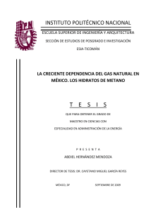La creciente dependencia del gas natural en Mexico. Los hidratos de Metano