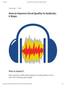 How to Improve Vocal Quality in Audacity  8 Steps