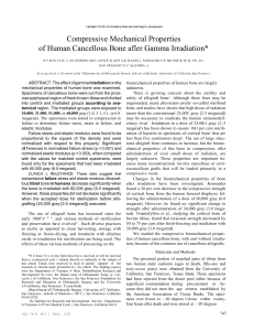 Compressive Mechanical Properties of Human Cancellous bone after Gamma Irradiation