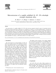 Microstructure of a rapidly solidified Al–4V–2Fe ultrahigh strength aluminum alloy