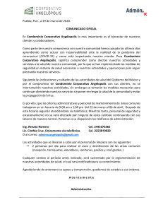 COMUNICADO CORPORATIVO ANGELOPOLIS.