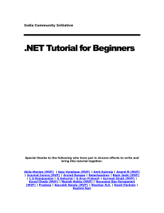 dotnet tutorial for beginners