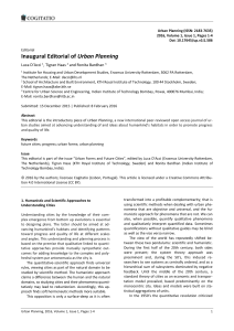 UP 1(1) - Inaugural Editorial of Urban Planning