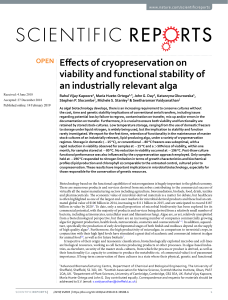 Efects of cryopreservation on viability and functional stability - Nature