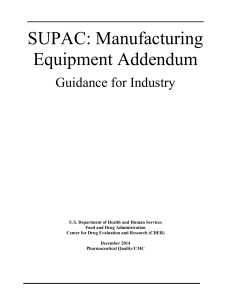 SUPAC Equipment Addendum