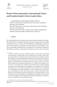 [15718123 - International Criminal Law Review] Heads of State Immunities, International Crimes and President Bashir's Visit to South Africa