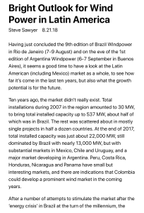 Bright Outlook for Wind Power in Latin America - Renewable Energy World