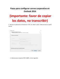 Pasos para configurar correo corporativo en Outlook 2016