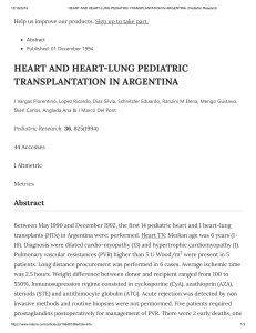 HEART AND HEART-LUNG PEDIATRIC TRANSPLANTATION IN ARGENTINA - Pediatric Research Florentino J. Vargas et al