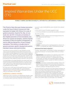 Implied Warranties Under the UCC