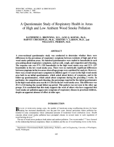 A Questionnaire Study of Respiratory Health in Areas of High and Low Ambient Wood Smoke Pollution