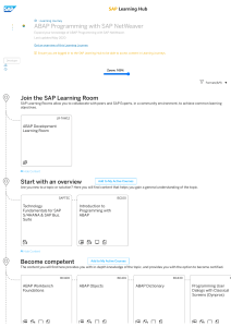 Learning Journey  ABAP Programming with SAP NetWeaver
