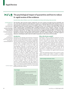 The psychological impact of quarantine and how to reduce it: rapid review of the evidence