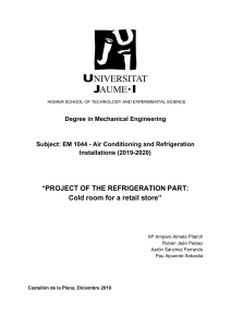 PROJECT OF THE REFRIGERATION