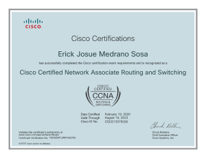 Cisco Certified Network Associate Routing and Switching certificate