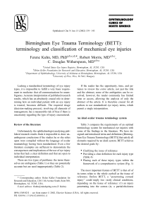 Birmingham Eye Trauma Terminology (BETT)terminology and classification of mechanical eye injuries