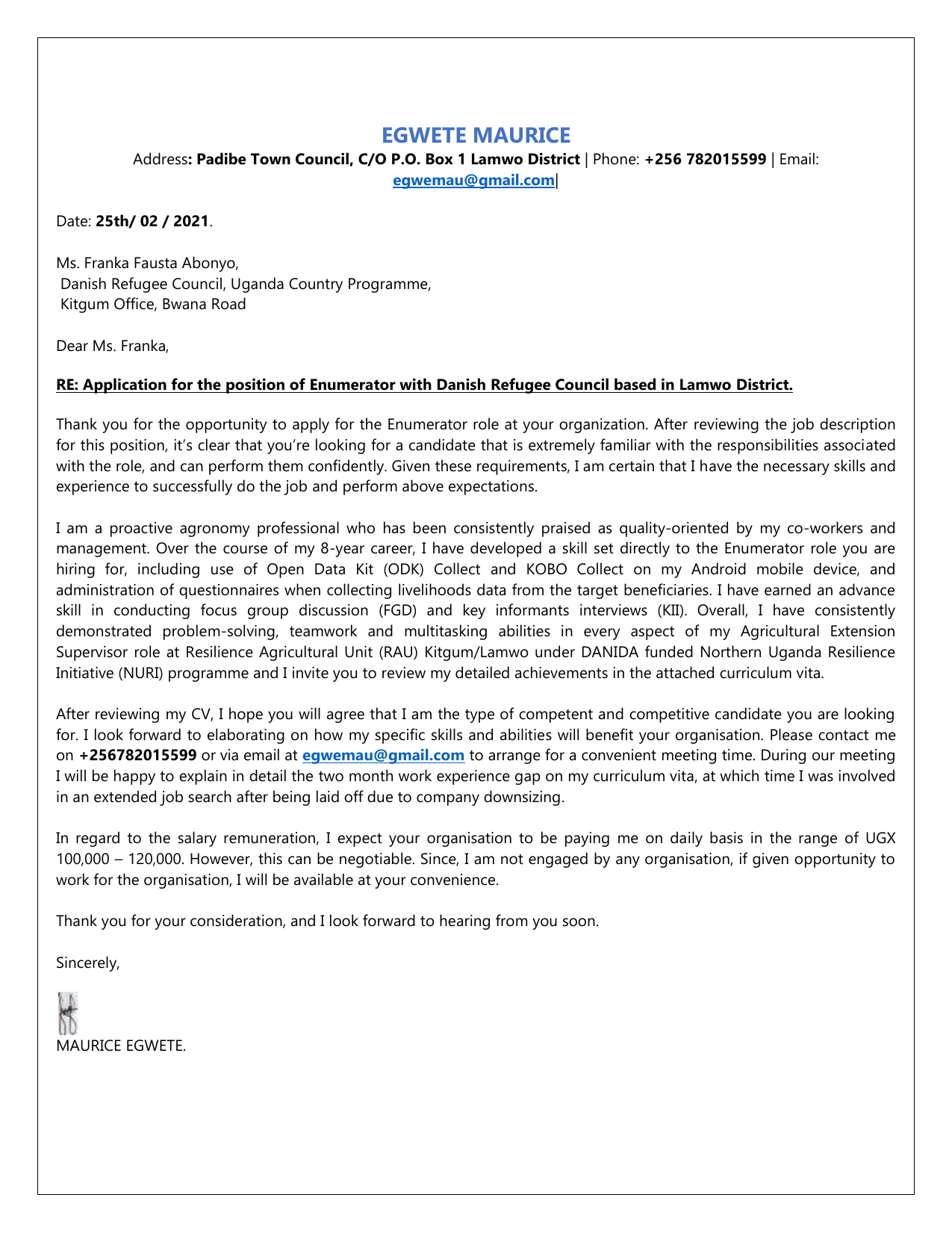 Maurice Cover Letter Cv Enumerator Drc