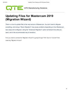 Updating Files for Mastercam 2019 (Migration Wizard)